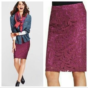 CAbi Frolic Plumberry Lace Pencil Skirt #922